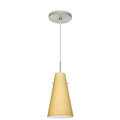 Cierro 1-Light Mini Pendant Finish: Satin Nickel, Glass Shade: Apricot Matte, Bulb Type: Incandescent