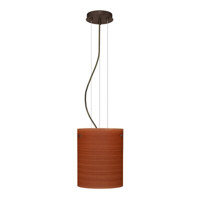 Tamburo Pendant Size / Glass Shade: 9.875 H x 7.875 W x 7.875 D / Cherry, Finish: Bronze