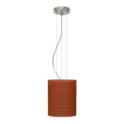 Tamburo Pendant Size / Glass Shade: 9.875 H x 7.875 W x 7.875 D / Cherry, Finish: Satin Nickel
