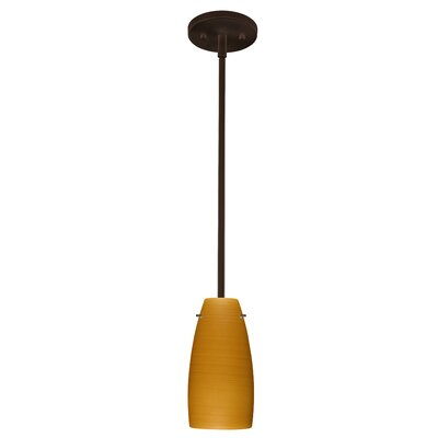 Tao 1-Light Pendant Finish: Bronze, Glass Shade: Oak, Bulb Type: LED