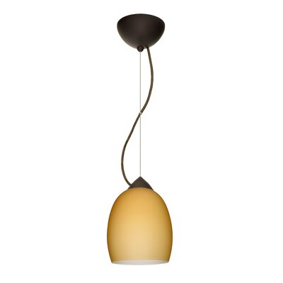 Lucia 1-Light Mini Pendant Finish: Bronze, Shade Color: Vanilla Matte, Bulb Type: LED