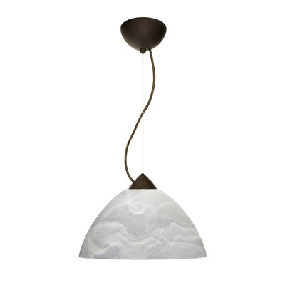 Porto 1-Light Pendant Finish: Bronze, Glass Shade: Marble