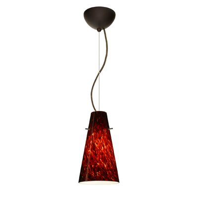 Cierro 1-Light Mini Pendant Finish: Bronze, Bulb Type: LED, Shade Color: Garnet