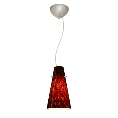 Cierro 1-Light Mini Pendant Bulb Type: LED, Finish: Satin Nickel, Shade Color: Garnet