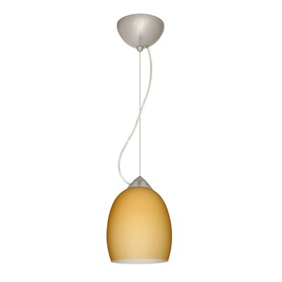 Lucia 1-Light Mini Pendant Finish: Satin Nickel, Shade Color: Vanilla Matte, Bulb Type: Incandescent