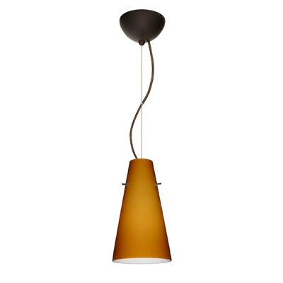 Cierro 1-Light Mini Pendant Bulb Type: LED, Finish: Satin Nickel, Shade Color: Apricot Matte