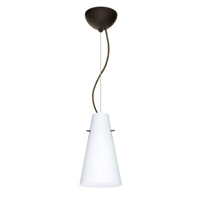 Cierro 1-Light Mini Pendant Finish: Bronze, Shade Color: Opal Matte, Bulb Type: Incandescent