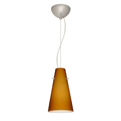 Cierro 1-Light Mini Pendant Finish: Satin Nickel, Shade Color: Amber Matte, Bulb Type: Incandescent