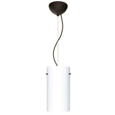 Tondo 1-Light Pendant Finish: Brushed Bronze, Shade Color: Opal Matte