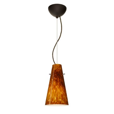 Cierro 1-Light Mini Pendant Finish: Bronze, Shade Color: Amber Cloud, Bulb Type: Incandescent