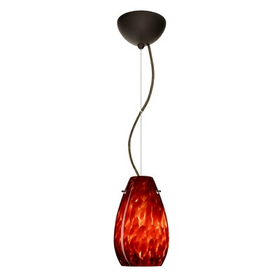 Pera 1-Light Mini Pendant Finish: Bronze, Bulb Type: Incandescent, Shade Color: Garnet