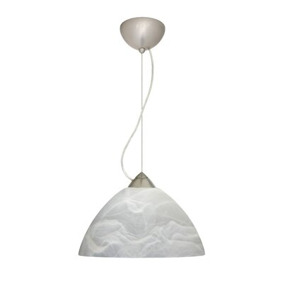 Porto 1-Light Pendant Finish: Satin Nickel, Glass Shade: Marble, Bulb Type: LED