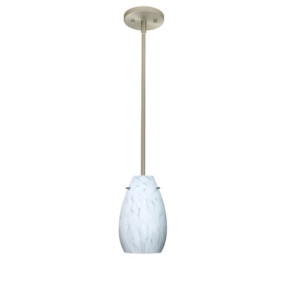 Pera 1-Light Pendant Finish: Satin Nickel, Glass Shade: Carrera, Bulb Type: LED