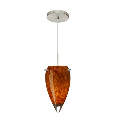Juli 1-Light Pendant Finish: Satin Nickel, Glass Shade: Amber Cloud