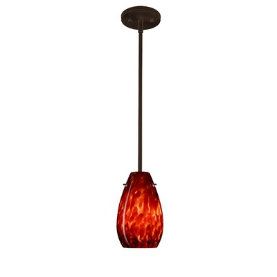 Pera 1-Light Pendant Finish: Bronze, Glass Shade: Garnet, Bulb Type: Incandescent