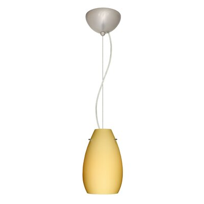 Pera 1-Light Mini Pendant Shade Color: Vanilla Matte, Bulb Type: Incandescent, Finish: Satin Nickel