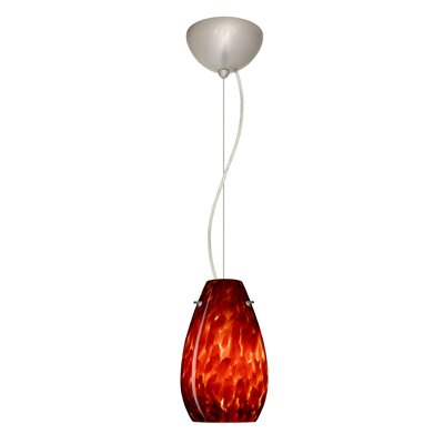 Pera 1-Light Mini Pendant Finish: Satin Nickel, Shade Color: Garnet, Bulb Type: LED