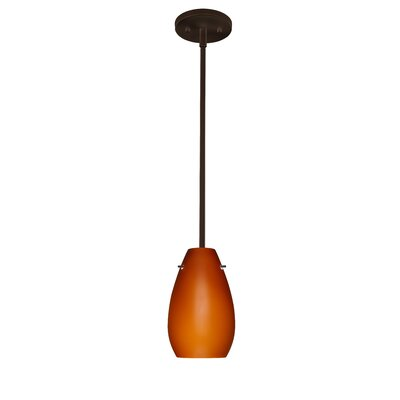 Pera 1-Light Pendant Finish: Bronze, Glass Shade: Amber Matte, Bulb Type: Incandescent