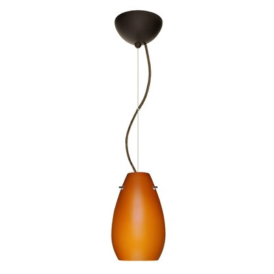 Pera 1-Light Mini Pendant Finish: Bronze, Bulb Type: LED, Shade Color: Amber Matte