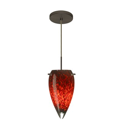 Juli 1-Light Pendant Finish: Bronze, Glass Shade: Garnet