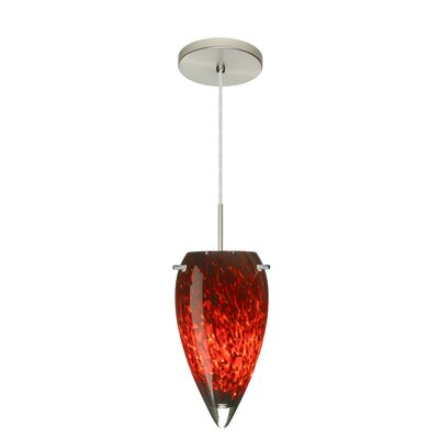 Juli 1-Light Pendant Finish: Satin Nickel, Glass Shade: Garnet