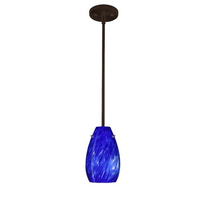 Pera 1-Light Pendant Finish: Bronze, Glass Shade: Blue Cloud, Bulb Type: Incandescent