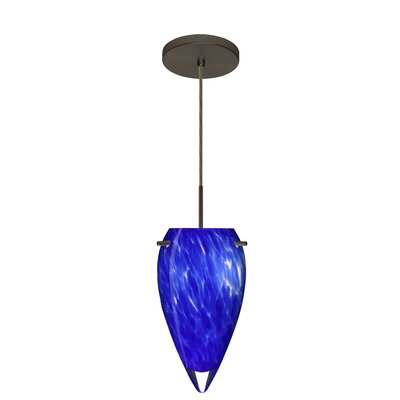 Juli 1-Light Pendant Finish: Bronze, Glass Shade: Blue Cloud