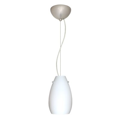 Pera 1-Light Mini Pendant Finish: Satin Nickel, Shade Color: Opal Matte, Bulb Type: Incandescent