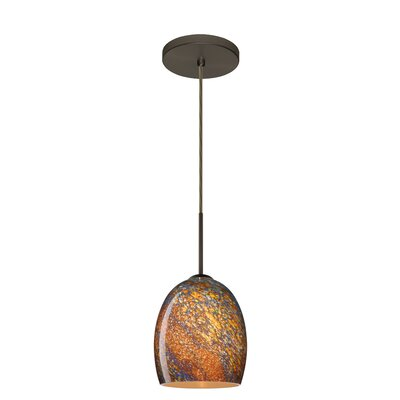 Lucia 1-Light Pendant Finish: Bronze, Glass Shade: Ceylon