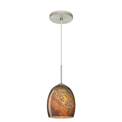 Lucia 1-Light Pendant Finish: Satin Nickel, Glass Shade: Ceylon