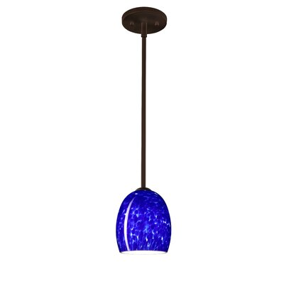 Lucia 1 Light Pendant Finish: Bronze, Glass Shade: Blue Cloud, Bulb Type: Incandescent