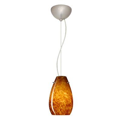 Pera 1-Light Mini Pendant Finish: Satin Nickel, Shade Color: Amber Cloud, Bulb Type: Incandescent