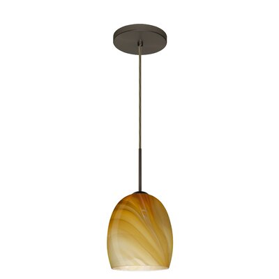 Lucia 1-Light Pendant Finish: Bronze, Glass Shade: Honey