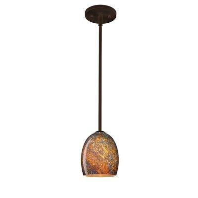 Lucia 1-Light Pendant Finish: Bronze, Glass Shade: Ceylon, Bulb Type: Incandescent