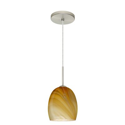 Lucia 1-Light Pendant Finish: Satin Nickel, Glass Shade: Honey, Bulb Type: LED