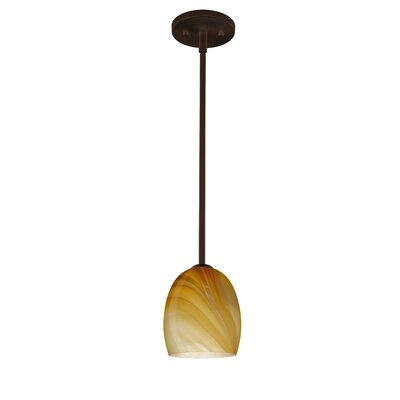 Lucia 1-Light Pendant Finish: Bronze, Glass Shade: Honey, Bulb Type: Incandescent