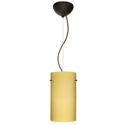 Tondo 1-Light Pendant Finish: Brushed Bronze, Shade Color: Vanilla Matte