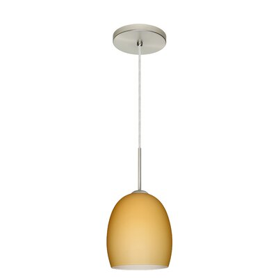 Lucia 1-Light Pendant Finish: Satin Nickel, Glass Shade: Vanilla Matte, Bulb Type: LED