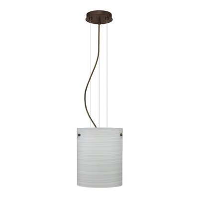 Tamburo Pendant Size / Glass Shade: 9.875 H x 7.875 W x 7.875 D / Chalk, Finish: Bronze