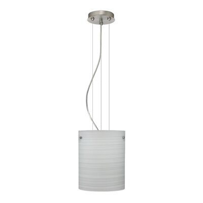 Tamburo Pendant Size / Glass Shade: 9.875 H x 7.875 W x 7.875 D / Chalk, Finish: Satin Nickel