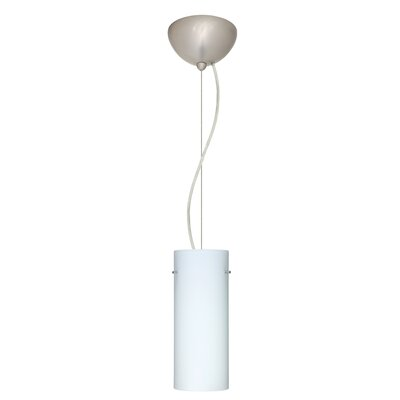 Stilo 1-Light Mini Pendant Shade Color: Opal Matte, Bulb Type: Incandescent, Finish: Satin Nickel