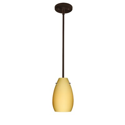 Pera 1 Light Pendant Finish: Bronze, Glass Shade: Garnet, Bulb Type: LED