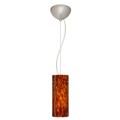 Stilo 1-Light Mini Pendant Finish: Satin Nickel, Shade Color: Amber Cloud, Bulb Type: Incandescent