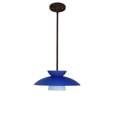Trilo 1-Light Pendant Finish: Bronze, Glass Shade: Blue Matte, Bulb Type: LED