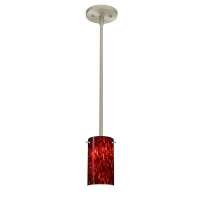 Stilo 1-Light Mini Pendant Bulb Type: LED, Finish: Satin Nickel, Shade Color: Garnet