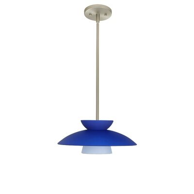 Trilo 1-Light Pendant Finish: Satin Nickel, Glass Shade: Blue Matte, Bulb Type: LED