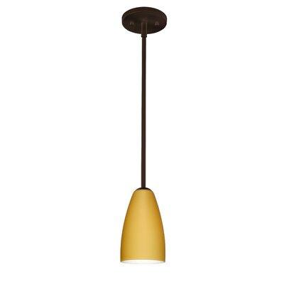 Riva 1-Light Pendant Finish: Bronze, Glass Shade: Vanilla Matte, Bulb Type: LED