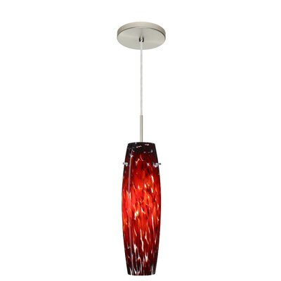 Suzi 1-Light Mini Pendant Finish: Satin Nickel, Glass Shade: Garnet, Bulb Type: LED