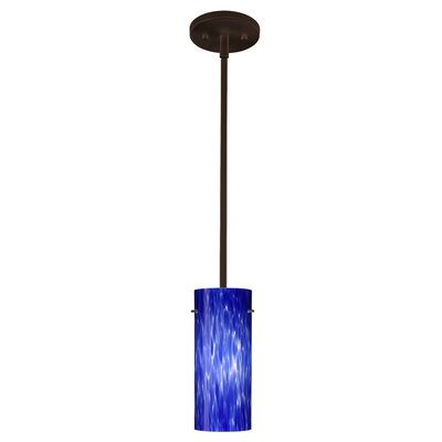 Stilo 1-Light Mini Pendant Finish: Bronze, Glass Shade: Blue Cloud, Bulb Type: LED