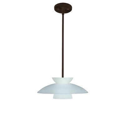 Trilo 1-Light Pendant Finish: Bronze, Glass Shade: Frost, Bulb Type: Incandescent